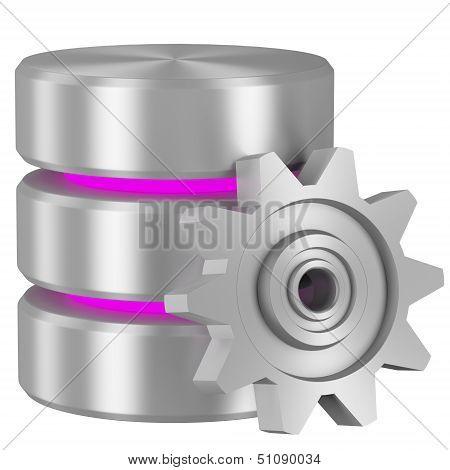 Database Icon With Magenta Elements And Cogwheel