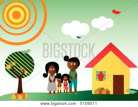 Retro Style African American Family In Landscape