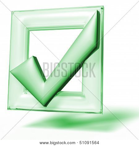 Green checkbox mark 3D