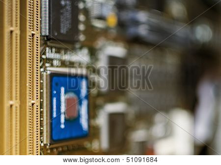 Motherboard Microprocessors Memory Slots Banks Pcb Periferics Traces Slots In Focus Chips On Blur Ba