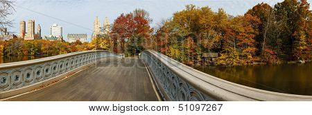 Panoramic View Of Central Park Autumn Trees From Bow Bridge