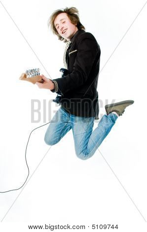 Jumping Man With Electro Guitar