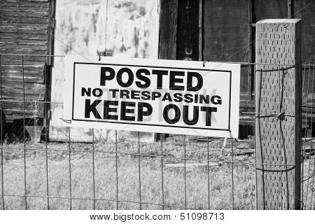 No Trespassing Sign In Black And White