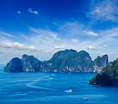 stock photo of koh phi-phi  - Aerial view of Phi Phi Leh island in Andaman Sea - JPG