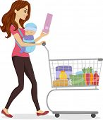 image of grocery cart  - Illustration of a Woman Doing Some Grocery Shopping While Carrying a Baby - JPG