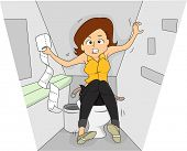 image of irritated  - Illustration of a Woman in a Rest Room Going Through a Bout of Irritable Bowel Sydrome - JPG