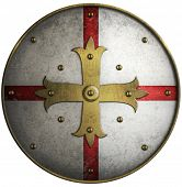 Round medieval shield with golden cross