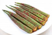 pic of okras  - Stir fried okra with spices and herbs - JPG