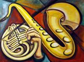stock photo of masterpiece  - Musicians hand Saxaphone and French Horn together create a musical masterpiece - JPG