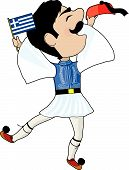 image of evzon  - A Greek Evzone dancing with Flag and his hat - JPG