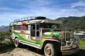 stock photo of luzon  - jeepney on mountain road near sagada northern luzon the philippines - JPG