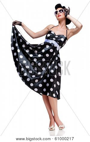 young beautiful caucasian woman posing, isolated over white, retro styling