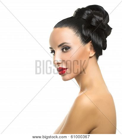 High Fashion Model Girl Portrait with Trendy Fringe Hair style and Makeup.