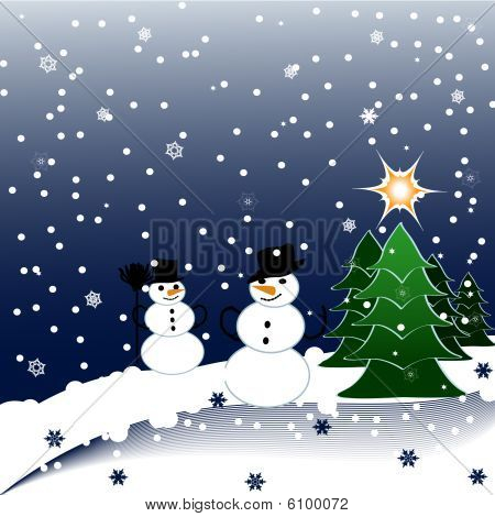 vector illustration of Snowmen on Christmas Background