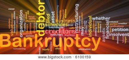 Bankruptcy Word Cloud Glowing