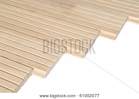 Pine floorboards isolated over white with clipping path.
