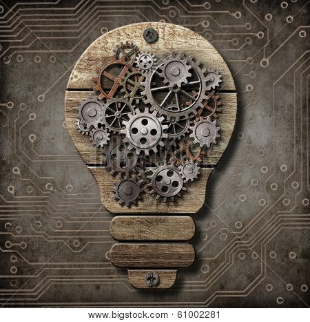Wooden lamp with cogs and gears. Idea concept.