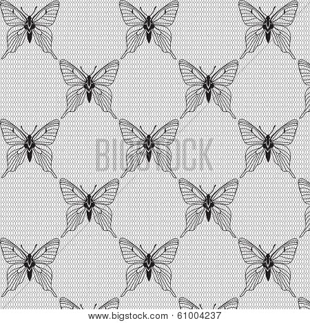 Black and white seamless pattern with butterflies on the voile