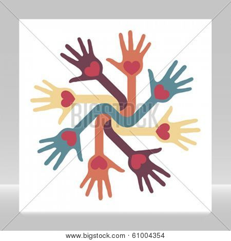 Loving circle of hands vector.