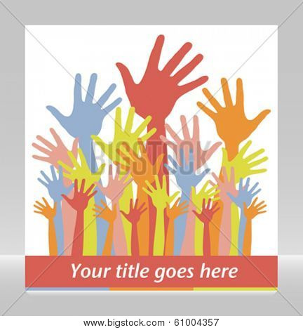 Large group of colorful hands vector.