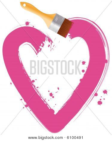 Paintbrush drawing pink heart