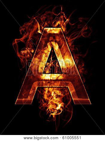 a, illustration of  letter with chrome effects and red fire on black background