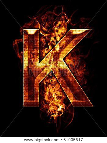 k, illustration of  letter with chrome effects and red fire on black background