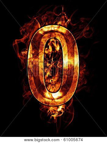 zero, illustration of  number with chrome effects and red fire on black background