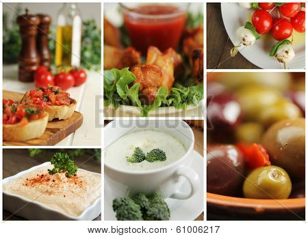 Collage of different appetizers showing chicken wings, soup, olives and other food.