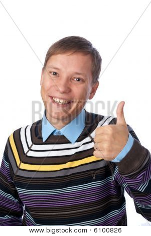 Handsome Young Man With Thumbs Up