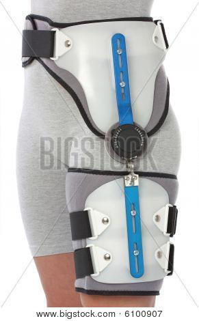 Woman with a hip splint