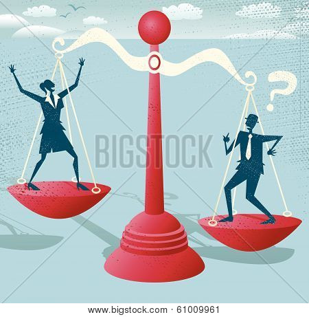 Businessman and Businesswoman balance on giant scales.
