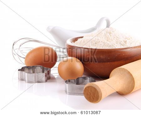 Ingredients for dough isolated on white