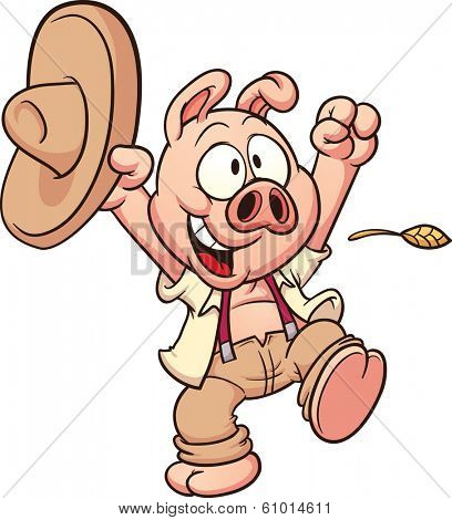 Happy farmer pig. Vector clip art illustration with simple gradients. All in a single layer.