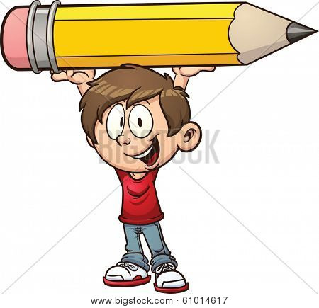 Cartoon boy holding a big pencil. Vector clip art illustration with simple gradients. All in a single layer.