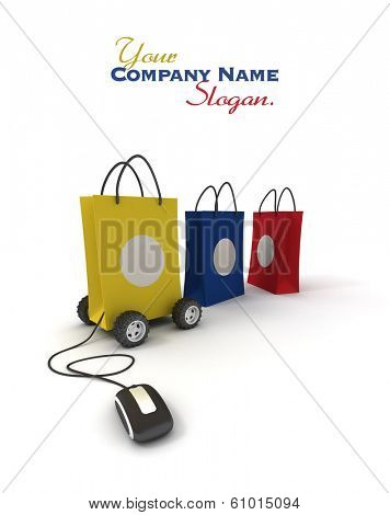 Shopping bag including concepts like choice, transportation and shopping online