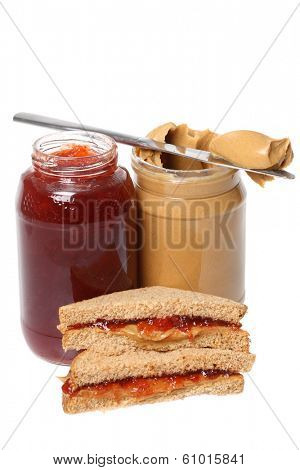 Peanut butter and Jelly, cutout on white background