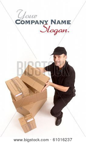 Isolated image of a messenger delivering a lot of boxes