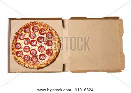 Pizza in delivery box on white background