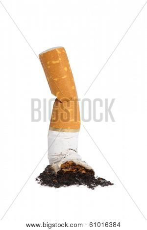 Cigarette butt, cutout on white background