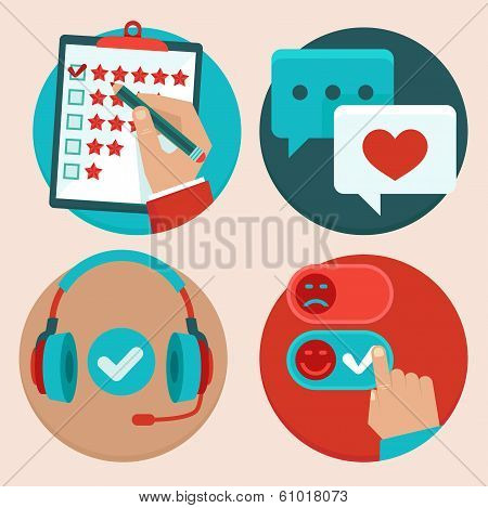 Vector Set Of Customer Service In Flat Style