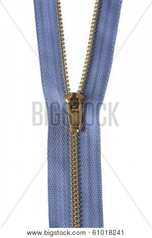 Zipper unzipping on white background with blue fabric
