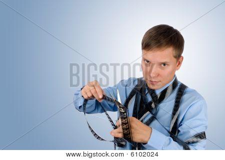 Man Hold Old Film