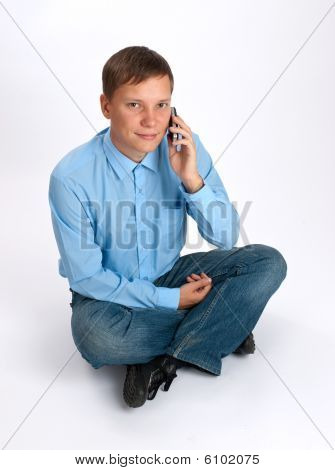 Man Taling On A Mobile Phone