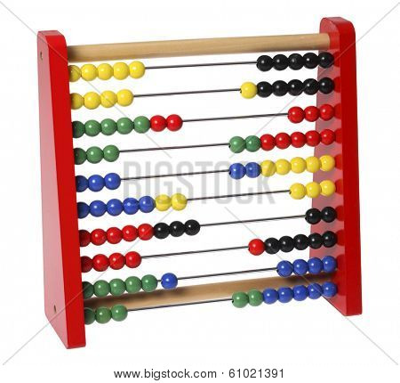 Red abacus on white