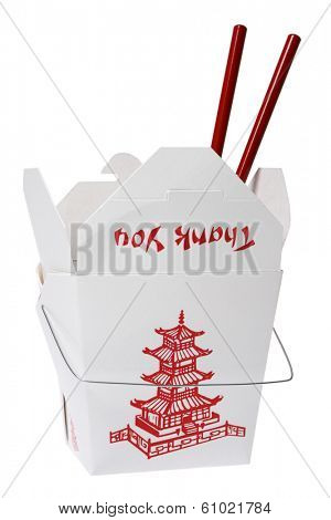 Takeout container with red chopsticks and thank you label