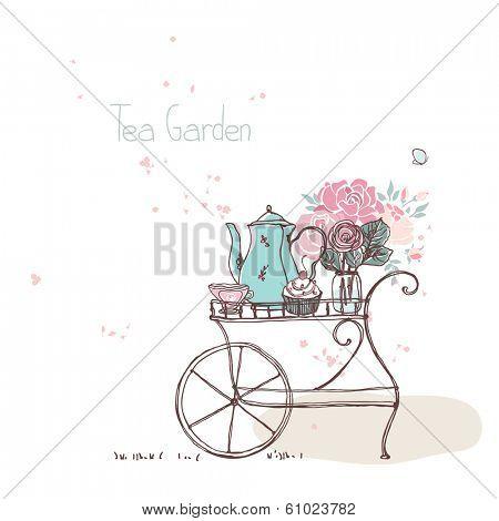 garden theme, vintage tea cart