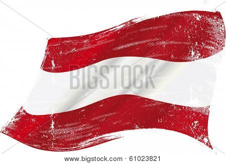 flag of  Austria in the wind with a texture