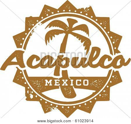 Vintage Style Acapulco Mexico Vacation Stamp