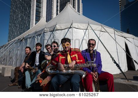 Musicians Posing Outside The Big Top At Milan Clown Festival 2014